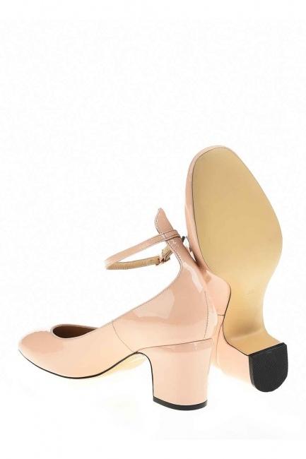 Mizalle - Premium Buckle Leather Shoes (Beige) (1)