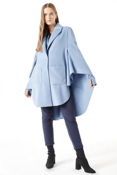 Mizalle - Premium Wool Cloak Coat (Blue)