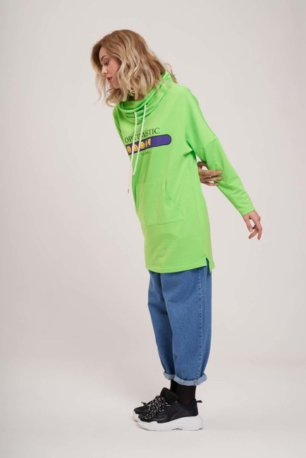 Mizalle - Printed Sweatshirt (Green)