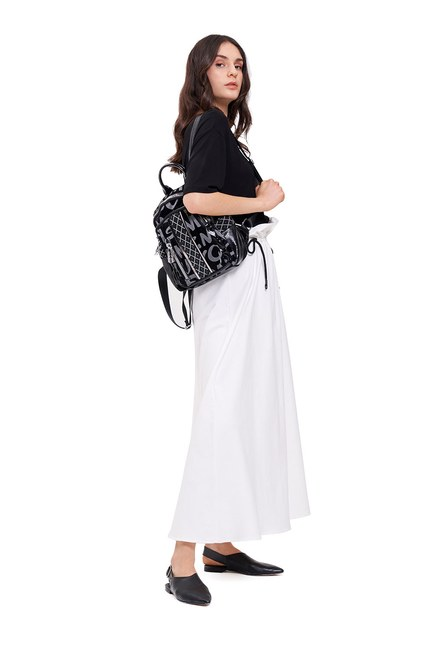 Mizalle - Printed Zippered Back Pack (Black)