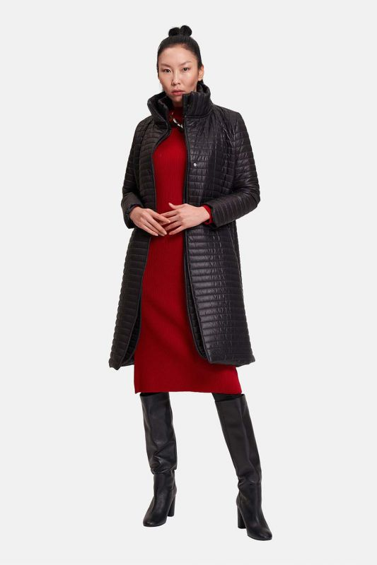 Quilted Double Collar Coat (Black)