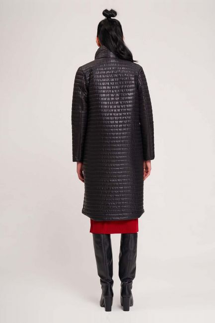 Quilted Double Collar Coat (Black) - Thumbnail