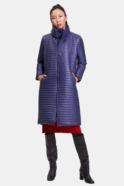 Mizalle - Quilted Double Collar Coat (Navy Blue)