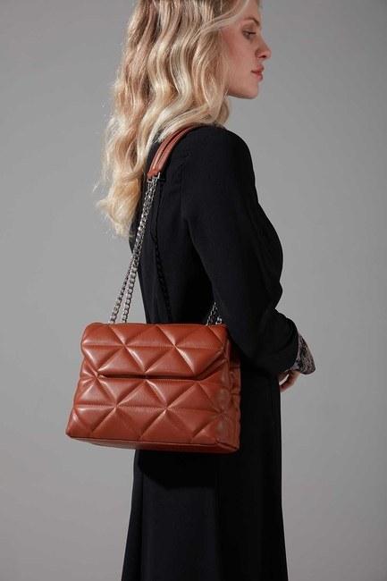 Mizalle - Quilted Handbag and Shoulder Bag (Tan)