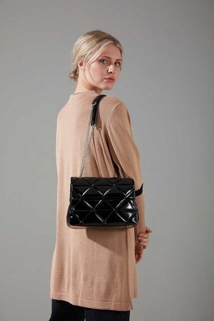 Mizalle - Quilted Shiny Handbag and Shoulder Bag (Black)