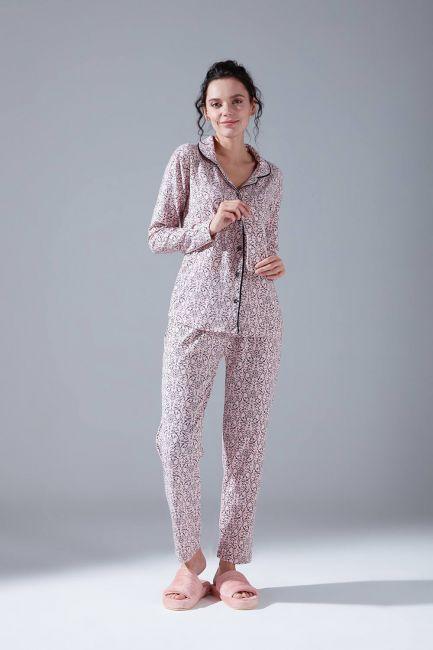Mizalle - Raised Cotton Pajama Set (Patterned)