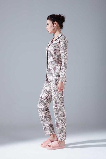 Mizalle - Raised Cotton Pajama Set (Shawl Patterned)