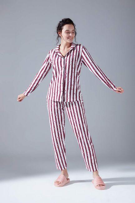 Mizalle - Raised Cotton Pajama Set (Striped)