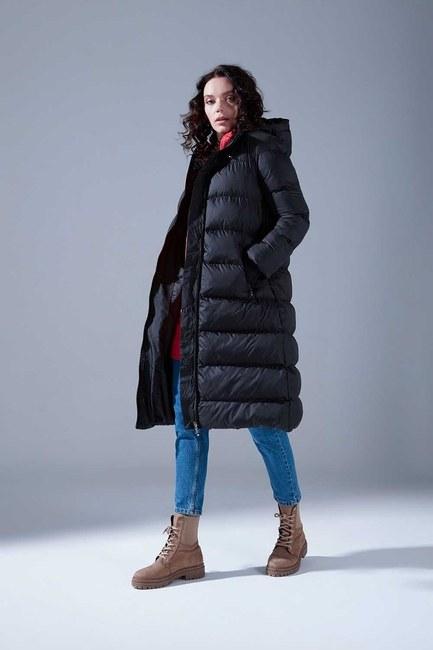 Mizalle - Ribbed Puffer Coat (Black)