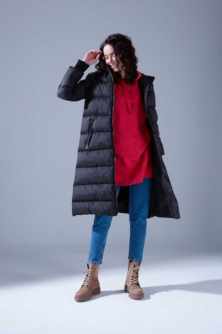 Mizalle Youth - Ribbed Puffer Coat (Black) (1)