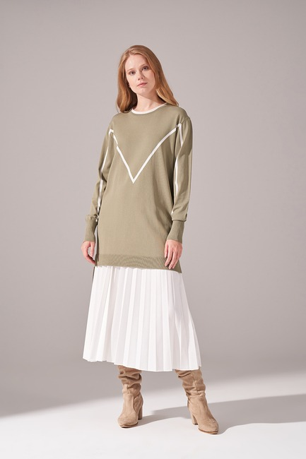 Mizalle - Ribbon Detail Rayon Tricot Tunic (Khaki)