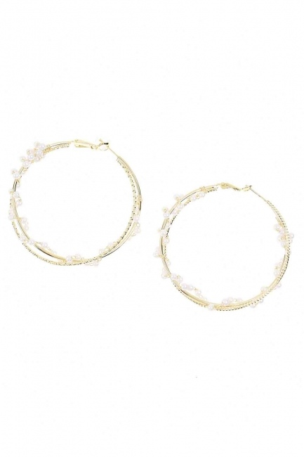 Mizalle - Ring Beaded Steel Earrings (St)