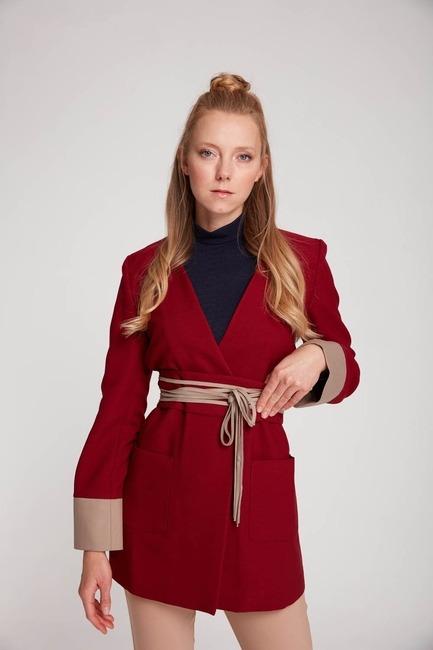 Mizalle - Rope Belt Unlined Jacket (Claret Red)