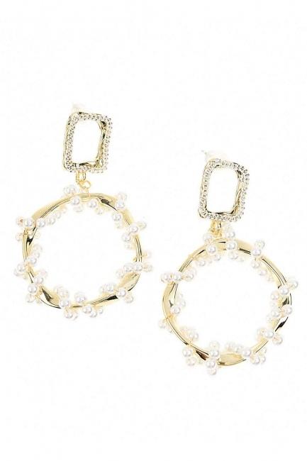 Mizalle - Round Beaded Steel Earrings (St)
