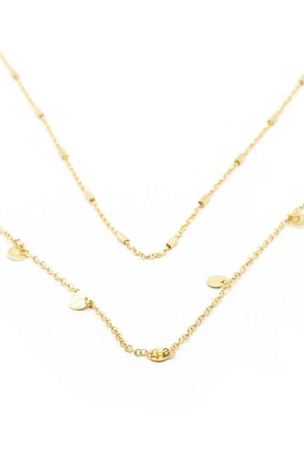 Mizalle - Round Detailed Necklace Small (Yellow)