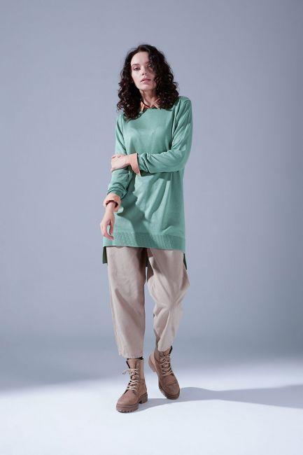 Mizalle - Round Neck Knitwear Tunic (Almond Green)