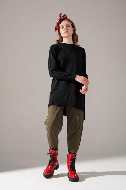 Mizalle - Round Neck Knitwear Tunic (Black)