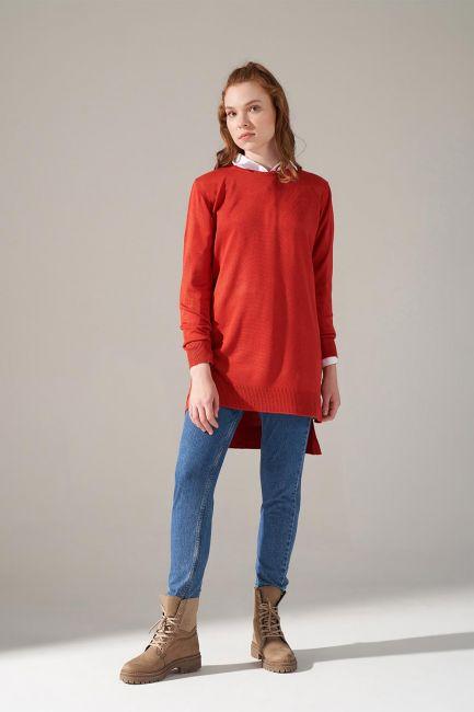 Mizalle - Round Neck Knitwear Tunic (Brick Red)