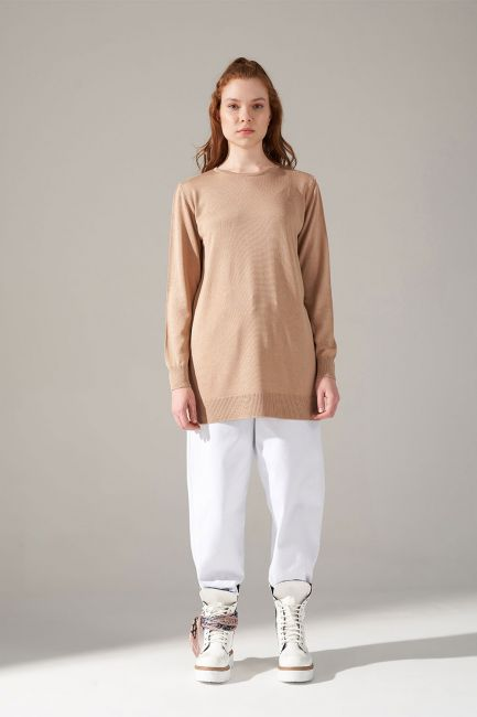 Mizalle - Round Neck Knitwear Tunic (Camel)