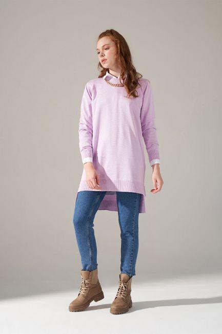 Mizalle - Round Neck Knitwear Tunic (Lilac)