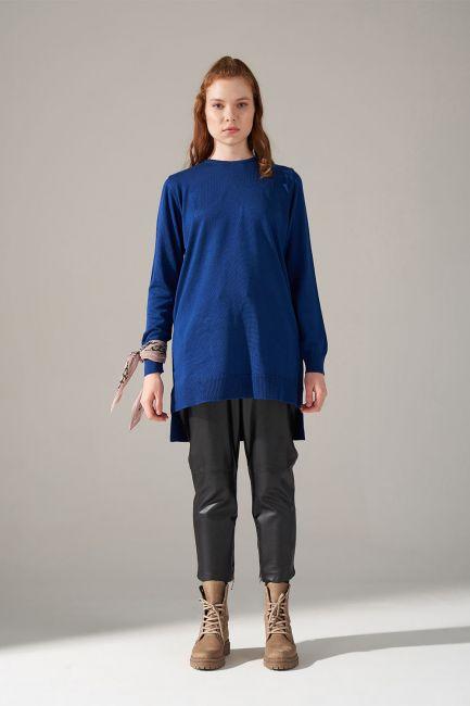 Mizalle - Round Neck Knitwear Tunic (Navy Blue)