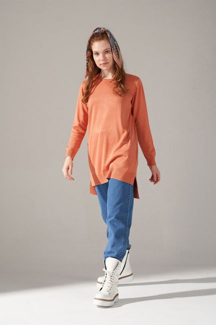 Mizalle - Round Neck Knitwear Tunic (Salmon)