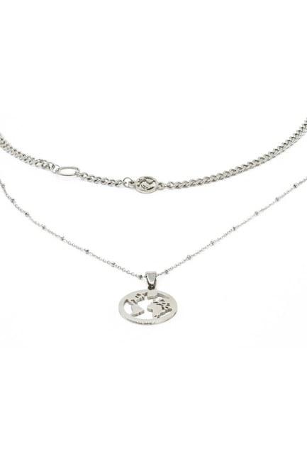 Mizalle - Round Pendant Chain Necklace (Grey)