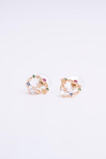 Mizalle - Round Stoned Earrings (Yellow)