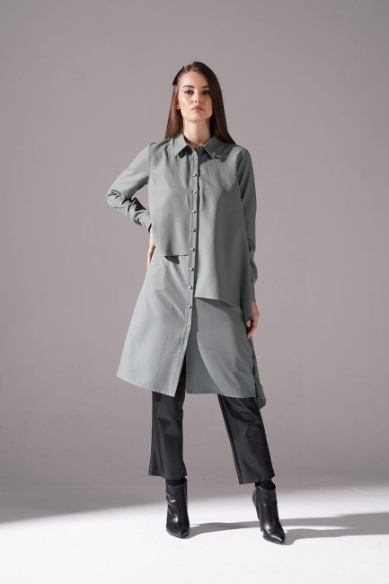 Mizalle - Ruffled Crepe Tunic (Almond Green)