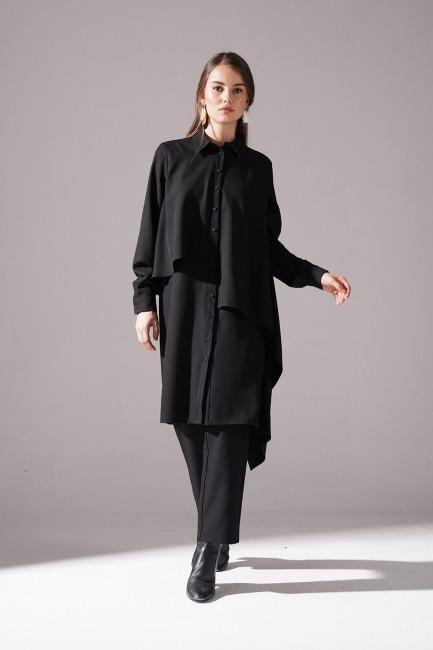 Mizalle - Ruffled Crepe Tunic (Black)