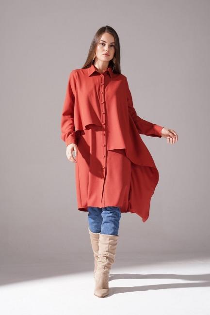 Mizalle - Ruffled Crepe Tunic (Brick Red)