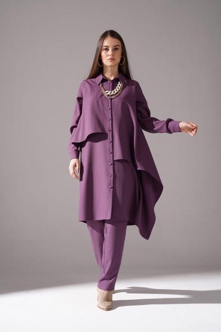 Mizalle - Ruffled Crepe Tunic (Purple)