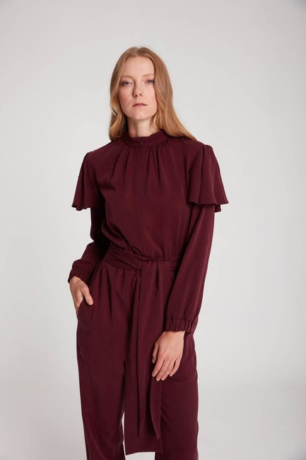 Mizalle - Ruffled Jumpsuit (Purple)