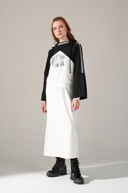 Mizalle - Scuba Tree Printed Sweatshirt (White)