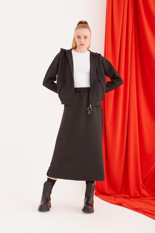 Scuba Waist Drawstring Black Skirt