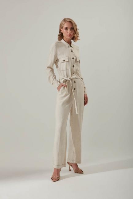 Mizalle - Sewing Detailed Linen Jumpsuit (Beige)