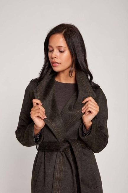 Mizalle - Shawl Collar Thai Pattern Coat (Brown) (1)