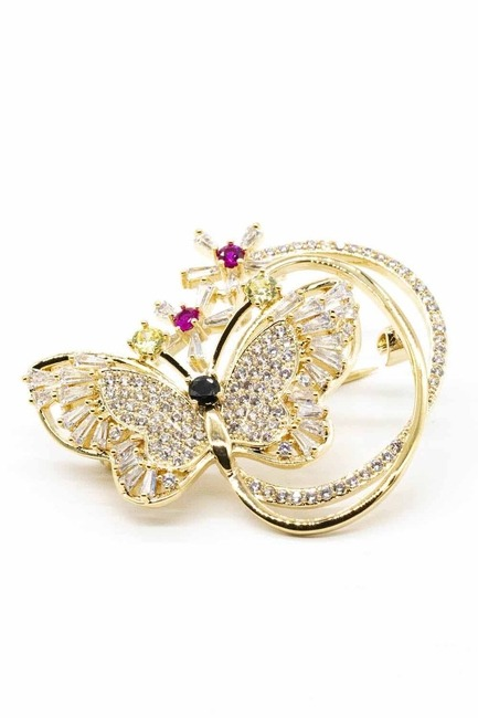 Mizalle - Shiny Butterfly Brooch (Yellow)