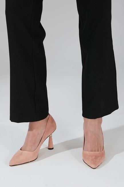 Mizalle - Shiny Heeled Suede Shoes (Powder)