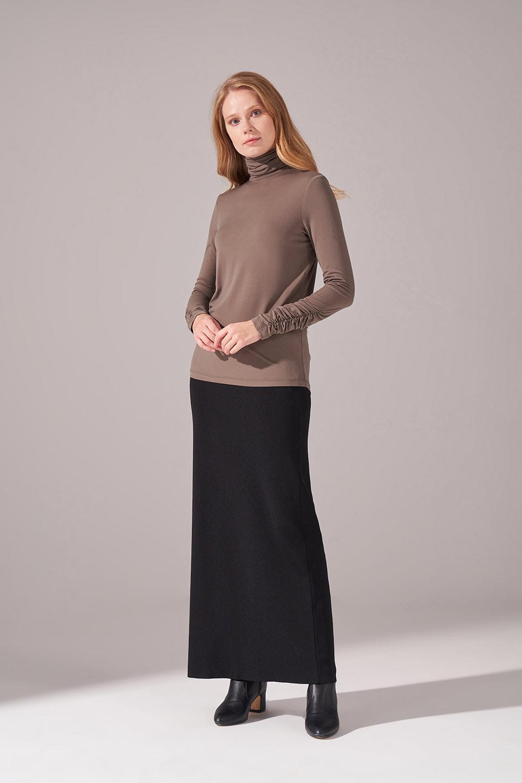 Mizalle - Shirred Sandy Blouse (Khaki)