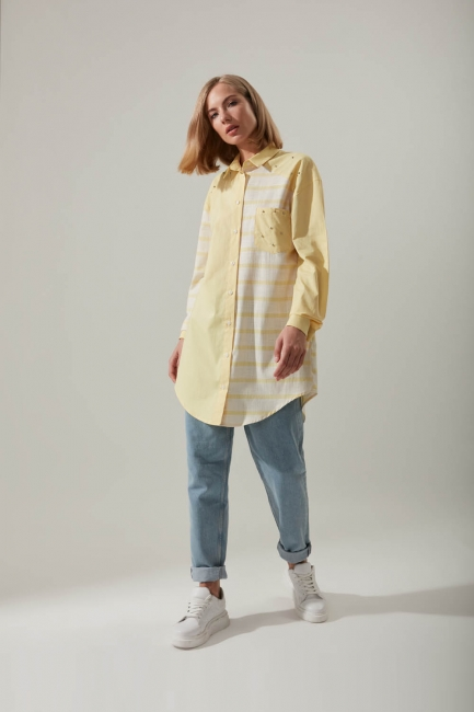 Mizalle - Shirt Collar Striped Tunic (Yellow)