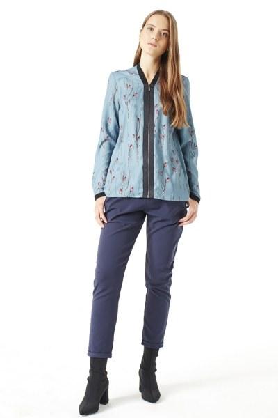 Mizalle - Shirt With Zipper (Blue) (1)