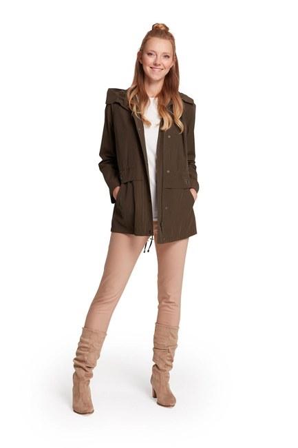 Mizalle - Short Hooded Coat (Khaki) (1)