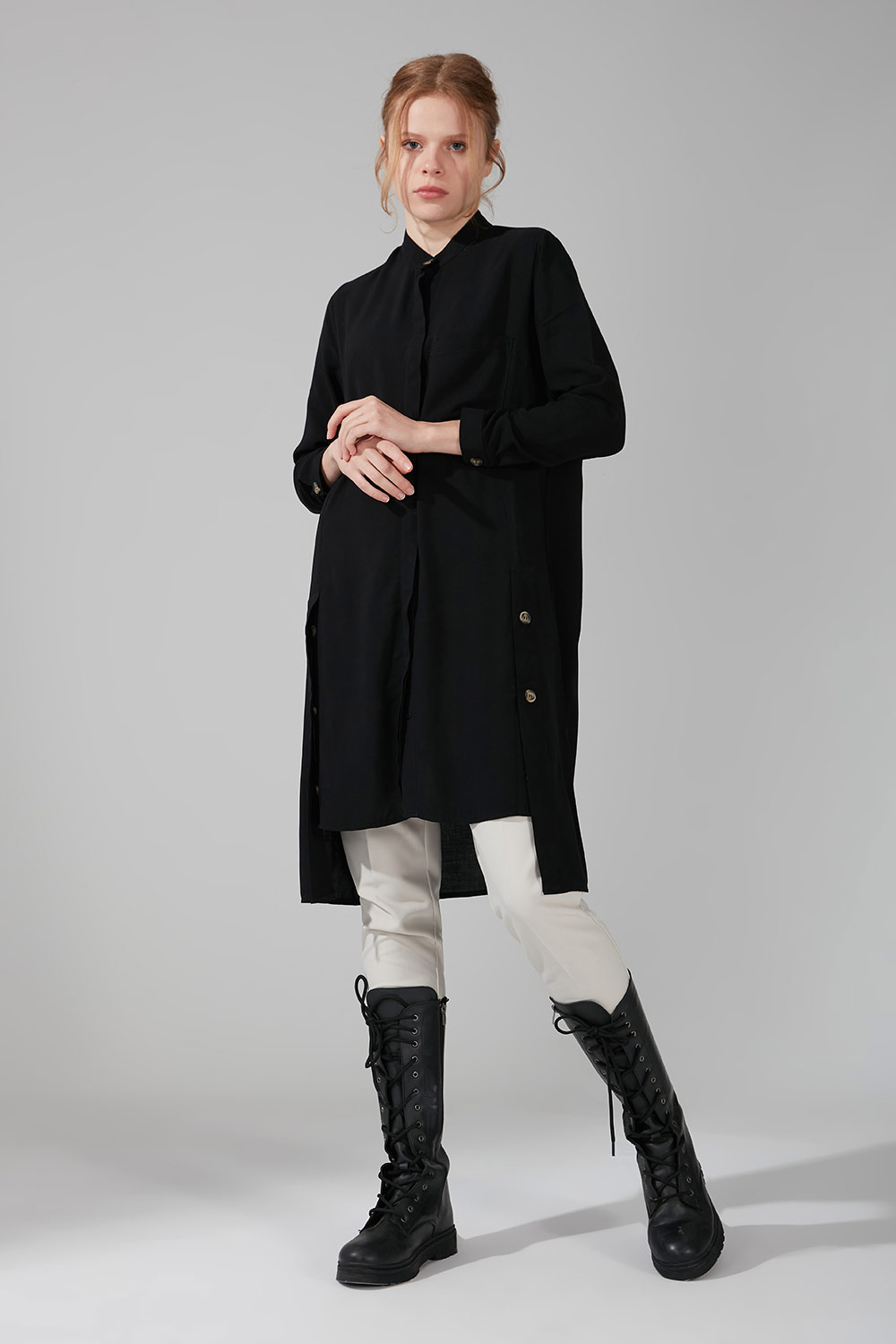 Mizalle - Side Button Tunic (Black)