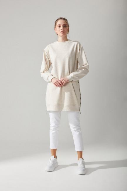 Mizalle - Side Zippered Sweatshirt (Beige)
