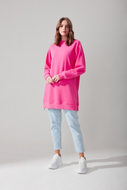 Mizalle - Side Zippered Sweatshirt (Pink)