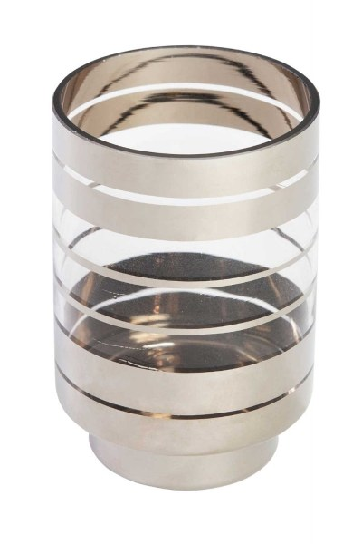 Mizalle Home - Silver Striped Candle Holder (Small)