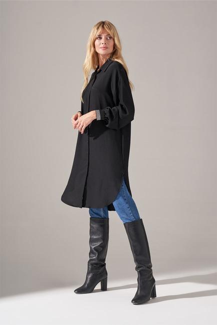 Mizalle - Silvery Elastic Sleeve Tunic Shirt (Black) (1)