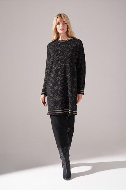 Mizalle - Silvery Knitted Knitwear Tunic (Black)