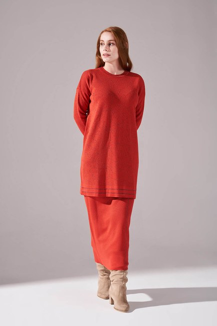 Mizalle - Silvery Knitted Knitwear Tunic (Brick Red)
